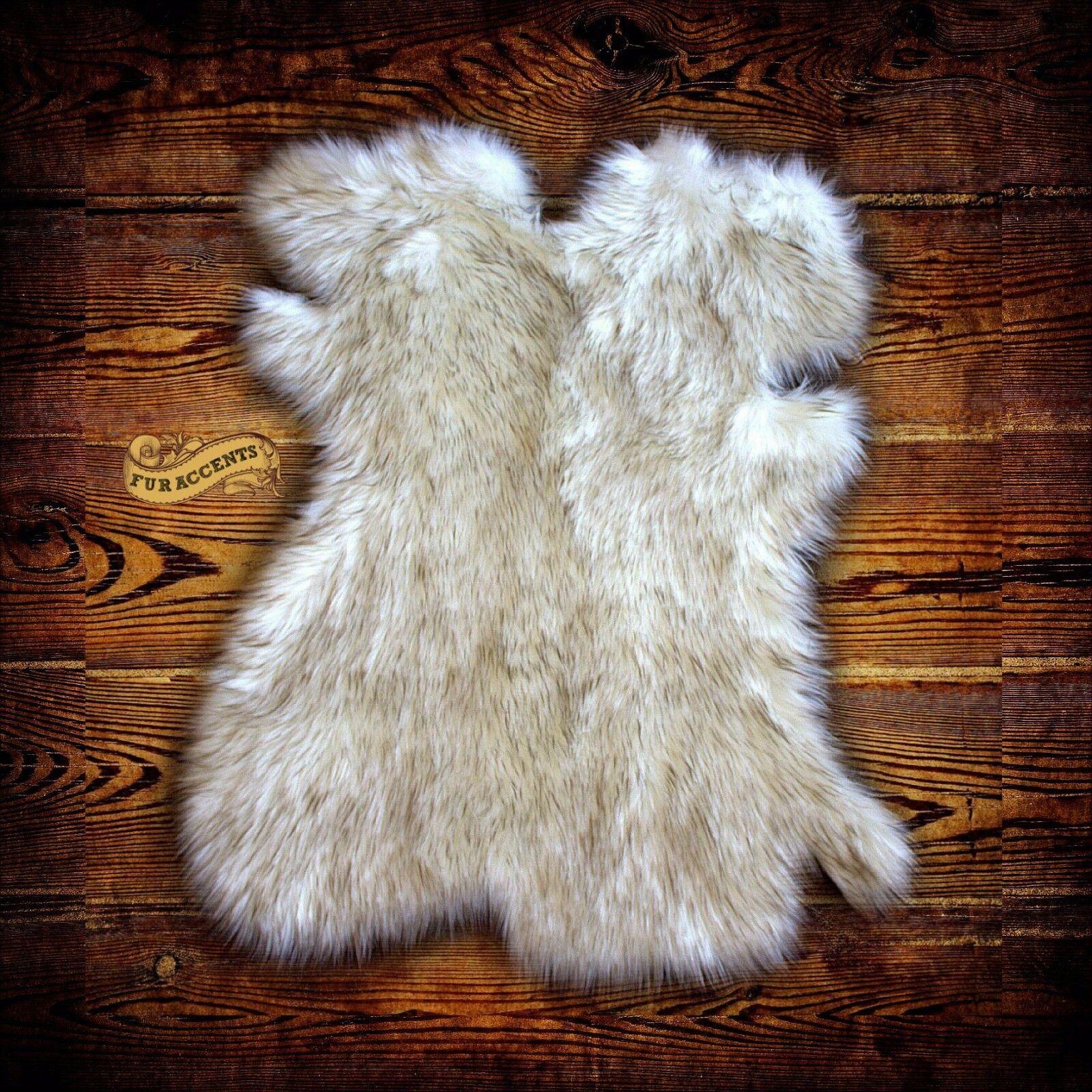 Arctic Fox Throw Rug - Plush Faux Fur - bianca w  Marronee Accents - New Pelt Design
