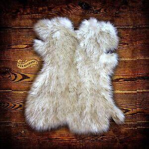 Arctic Fox Throw Rug Plush Faux Fur White W Brown