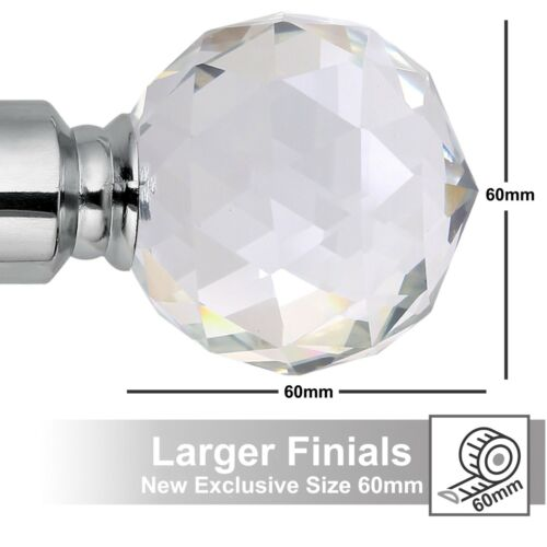 Rings /& Fittings Extendable Metal Curtain Pole Includes Superior 60mm Finials