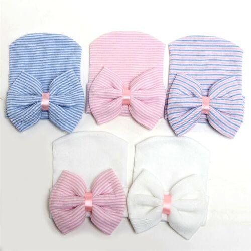 0-3 Months Baby Girl Infant Soft Hat Bowknot Cap Hospital Newborn Winter Beanie