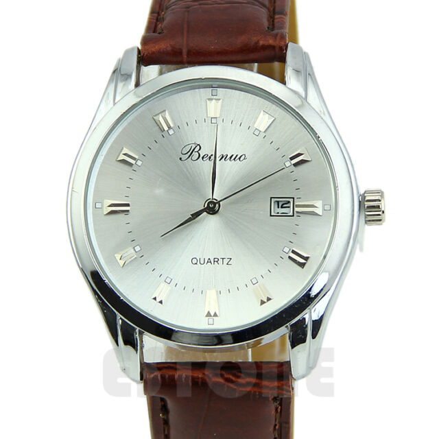 Men's New Fashion Electronic Stainless Steel Leather Casual Quartz Wrist Watch