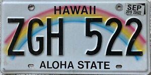 GENUINE-American-Hawaii-Aloha-State-Rainbow-USA-License-Number-Plate-Tag-ZGH-522