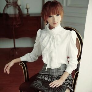 335d88a18c173f Women Vintage Victorian Shirt Long Sleeve Ruffle Trim Blouse OL Slim ...