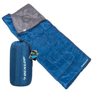 Dunlop-Deckenschlafsack-ultraleicht-190-x-75-cm-blau-bis-8-C-fuer-Camping