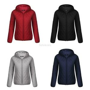 e19847d169 Details about Women's Warm Lightweight Hooded Full Zip Casual Quilted Down  Jacket GFEQ 01