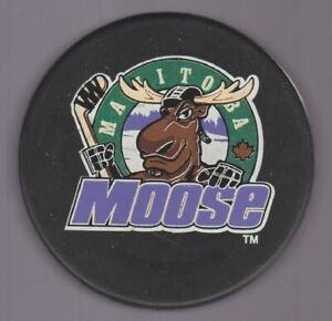 Ihl Manitoba Moose Original Logo Black Background Puck Trench Back K606 Bl Ebay