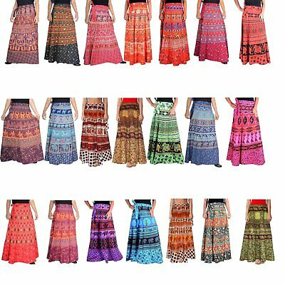 INDIAN VINTAGE COTTON LONG SKIRT WOMEN WRAP AROUND BOHEMIAN GYPSY HIPPIE DRESS
