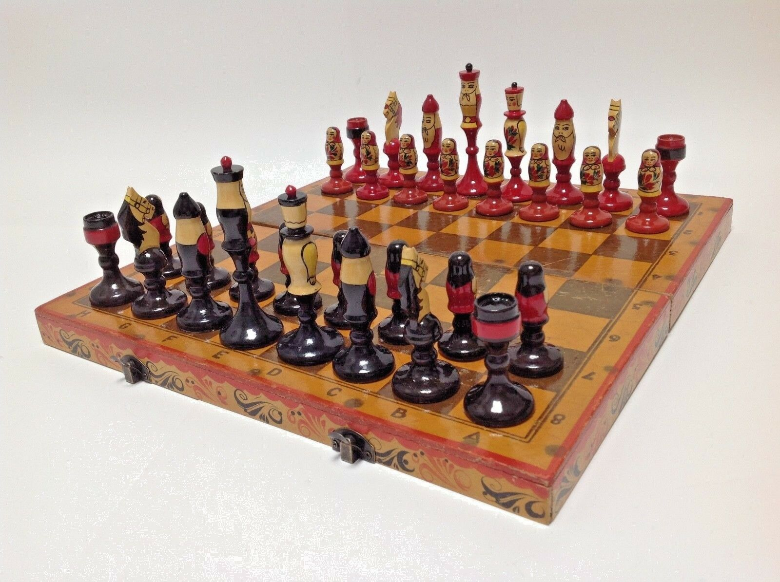 SUPERB VINTAGE CHESS SET USSR RUSSIAN DOLL THEMED WITH HAND PAINTED BOX   BOARD