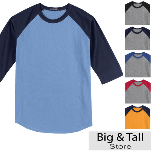 Big Men/'s Baseball 3//4 Sleeve Raglan T-Shirt 3XL 4XL 5XL 6XL Colored #590