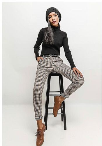 Ladies Check Tapered Trousers Women/'s sizes 8-14 Jasmyn high waist belted pants
