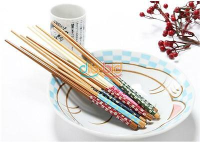 1/5 Pairs Home Use Wooden Chopsticks Engraved Bamboo Chinese Retro Nation