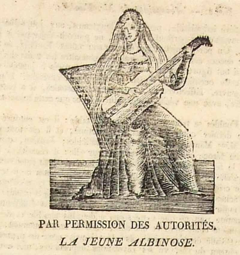 Plakat die jungen ALBINOSE gegen 1820 / Schauspiel Wachs