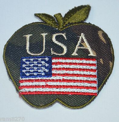 USA CAMO BIG APPLE NEW YORK  Embroidered Sew Iron On Cloth Patch Badge Jacket NY