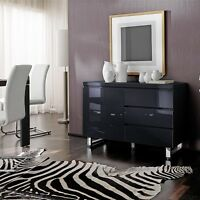Sydney Small Sideboard In High Gloss Black With 3 Drawer 1 Door