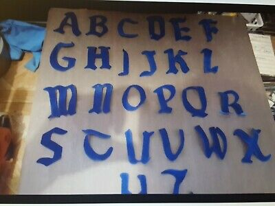 "2 1//4 /"" OLD ENGLISH SCRIPT VINYL ROYAL BLUE HEAT ON LETTERS A-Z"