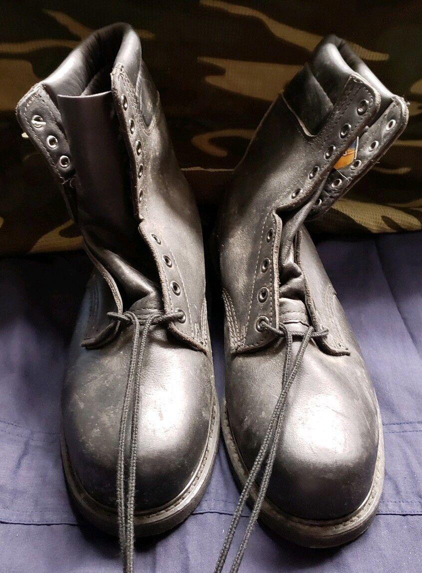 Vintage Negro Cuero Acolchado Top acero dedo botas de cubierta de vuelo