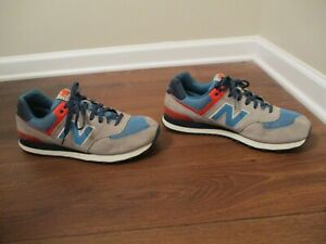 the best attitude ba007 c6d9d Details about Used Worn Size 13 New Balance 574 Shoes Gray Navy Orange Blue  Silver White