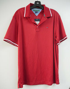 71862bd49d0 Tommy Hilfiger Mens Solid Chilly Red TM002R Golf Polo Shirt Short ...