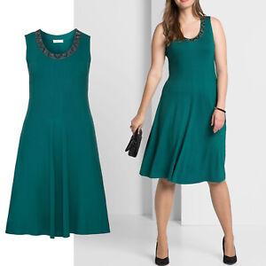 wunderschoen-elegant-Gr-46-48-Jerseykleid-Kleid-gruen-smaragd-Sommerkleid-Perlchen