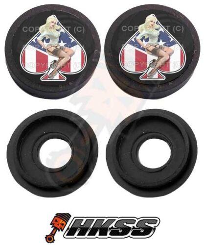 GIRL USA SPADE B 82Z 2 Black Custom License Plate Frame Tag Screw Cap Covers