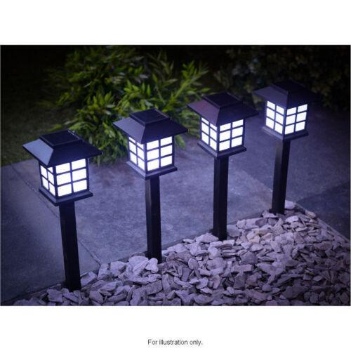 6x Giardino Energia Solare Luce CARROZZA LED Illuminazione Esterna Nero Ornamento