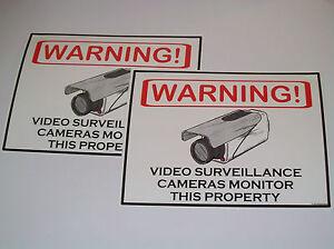 Security Surveillance CCTV Camera Warning Sign Lot of 2