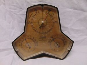 Vintage-Texaco-Barometer-by-Honeywell-3-ranges-gold-black-color-Stormy-7-034-x-7-034