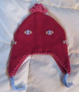 Baby Gap 12-18 month red knit hat girls flower embroidery  c896f02a09e5