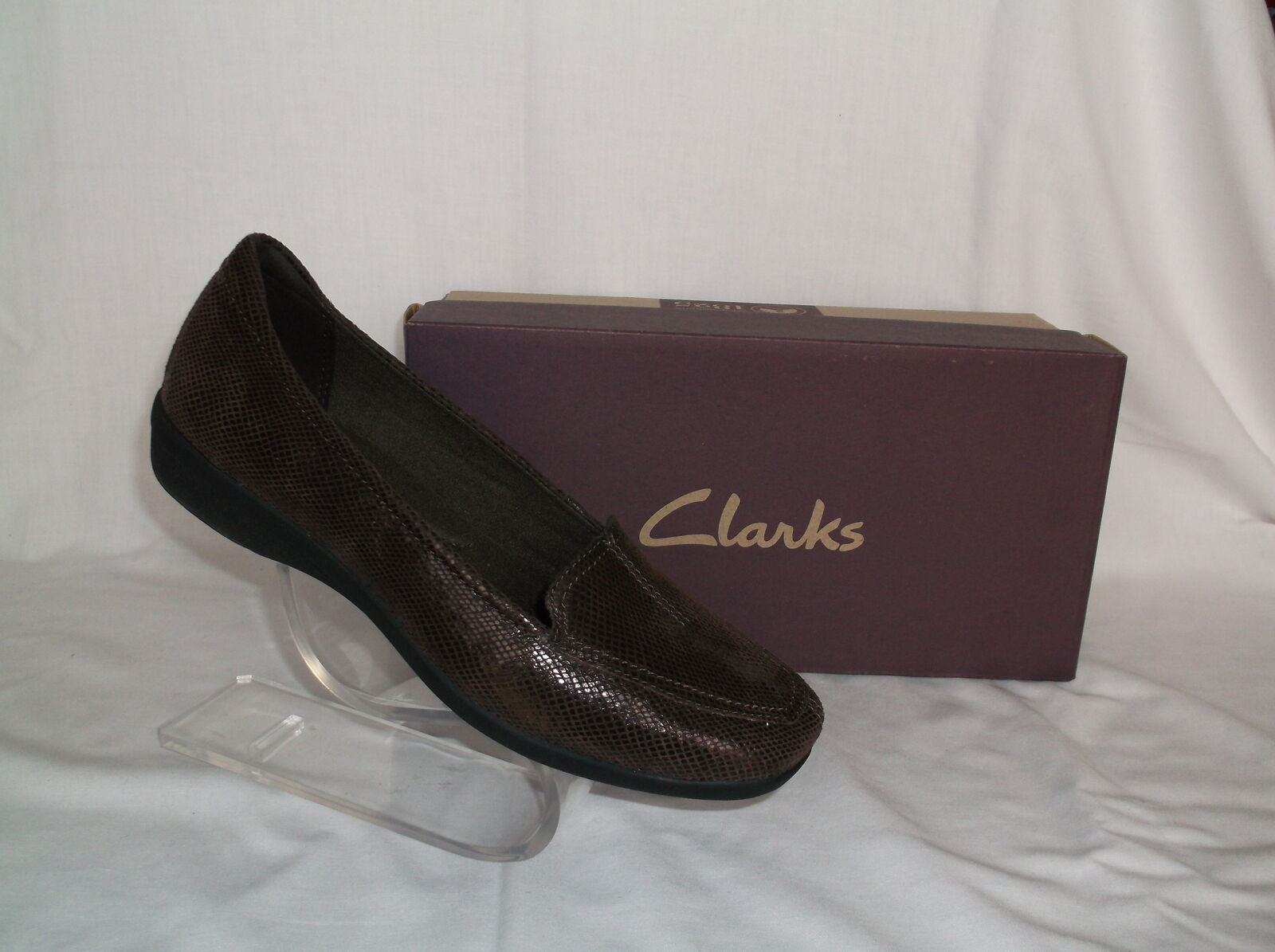 CLARKS LEATHER LIZZARD BROWN LOAFER NEU IN BOX