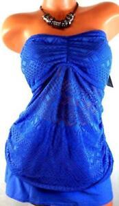 V-M-Plus-Womens-Swimwear-Lace-Padded-Removable-Straps-Tankini-Blue-16W-M0107