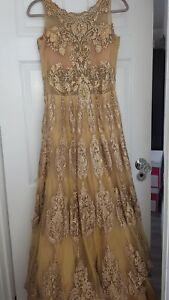 Bridal Indian Asian Pakistani Gold Outfit Ball Gown Aishwarya Design