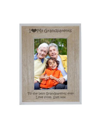 I Heart-love My Grandparents 4 X 6 Photo Frame White Edge Wood Frame ...