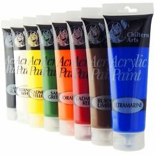 Chiltern Arts 8 Tubes Of Assorted Colour Acrylic Paint - 120ml Tubes-ATS1166