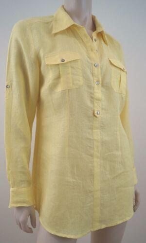 Linen Short Top Long Blouse Alberto Sleeve Bini Collared Shirt Uk10 Yellow zqRggEt