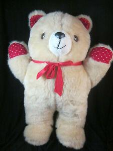 "1989 BJ TOY Co 14"" Firm Plush Standing Bear Hug Heart Fabric Vintage Valentine"