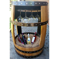 Recycled Solid Oak Whisky Barrel the Charlotte Drinks Table And Glass Holder