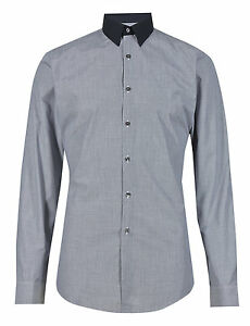 M-amp-S-LIMITED-Slim-Fit-Contrast-Collar-Textured-Shirt-Blue-Mix-Size-16-NEW