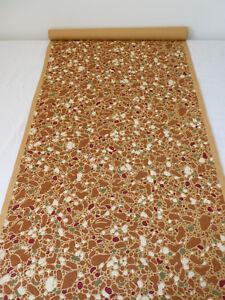 Ancien-Papier-Peint-Peinture-au-Pochoir-camouflage-Marron-Vintage-5-70m