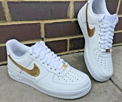 Nike Air Force 1, Custom Design, 24k Gold Leaf Nike Tick & Lace Locks!! eBay  eBay