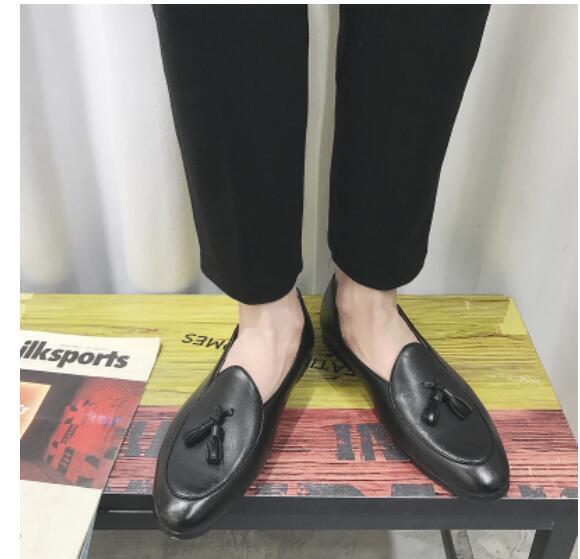 Para Hombre de Cuero Pantuflas Zapatos Mocasines Planos Mocasines Zapatos belga Vestido Con Moño Moda c16356