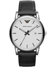 846e8f6a9efc9 Emporio Armani AR1694 Classic White Dial Black Leather Strap Men's Wrist  Watch