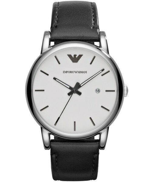 3532ea6a3 Emporio Armani AR1694 BRAND White Dial Black Strap 41mm Watch Fast Ship for  sale online | eBay