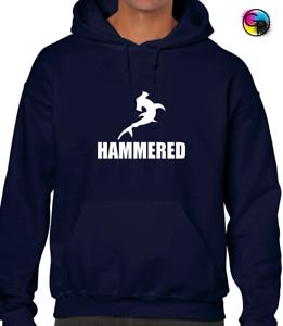 HAMMERED HOODY HOODIE FUNNY DRUNKEN SHARK PRINTED SLOGAN DESIGN JOKE GIFT