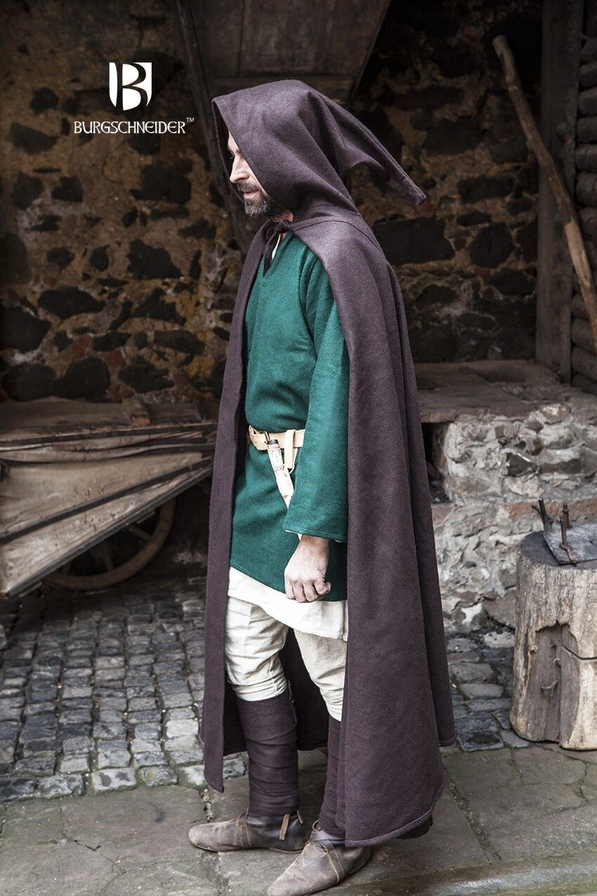 Medieval Hooded Cape Coat Hibernus /Larp - Braun From Burgschneider