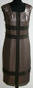 Uk10 Robert Silk Cap us4 Auth 100 Rodriquez Shift Sequinned Brown sleeves Dress nTdHqwHa0