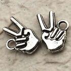 50 Tibetan Silver Metal Victory Hand Sign Charm Pendant