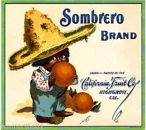 Highgrove Riverside County Sombrero Boy Orange Citrus Fruit Crate Label Print