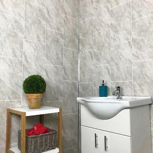 Cutline Dark Grey Marble Tile Effect Bathroom Wall Panels ...