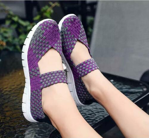 Hot Sale Womens Strap Slip On Weave Breathable Shoes Casual Outdoor Elastic Chic