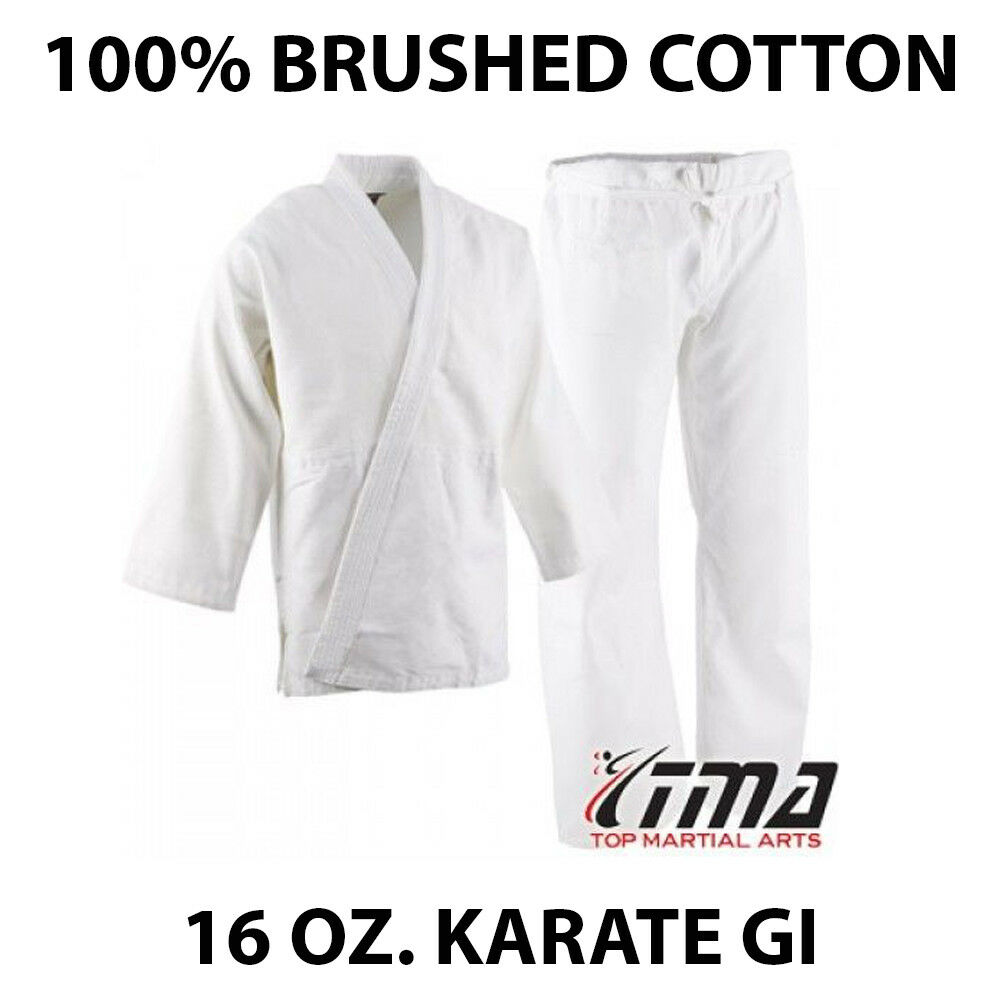 Size 5&6 WHITE 16 Oz. Gi Made of 100% Brushed  Cotton Heavy Weight Karate Uniform  your satisfaction is our target